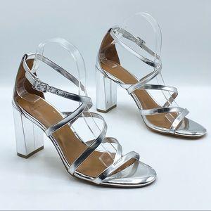 H by Halston Luna Metallic Silver Strappy Sandal Heels